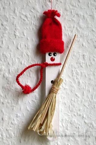 Christmas Craft Idea for Kids - Craft Stick Winter Snowman