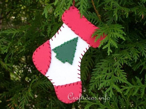 Christmas Craft Idea for Kids - Fun Foam Christmas Stocking Ornament