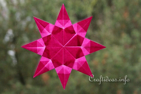 Christmas Craft Idea for Kids - Pink Origami Folded Transparent Star
