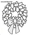 Christmas Craft Pattern - Coloring Book Page - Holly Leaf Christmas Wreath 100