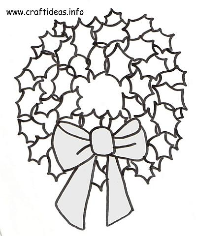 christmas craft pattern coloring book page holly leaf christmas wreath 500