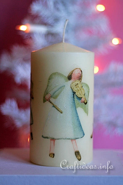 Christmas Craft for Kids - Decoupage Candle with Cherubs