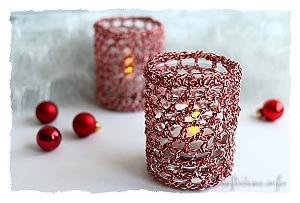 Christmas Crochet Candle Glass Covers