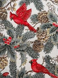 Christmas Fabric with Birds Motif