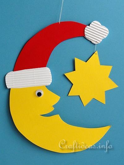 Christmas crafts for kids paper santa moon room or - Bastelideen nikolaus ...