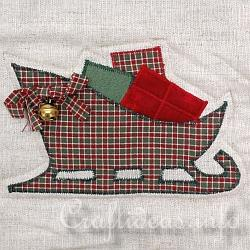 Christmas Quilt - Wall Hanging - Detail of Sled
