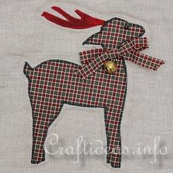 Christmas Quilt - Wallhanging - Detail of Reindeer