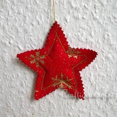 Free Christmas Crafts Fabric Star Tree Ornament