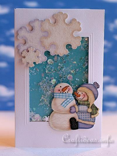 Christmas Shaker Card With Snowmen