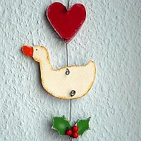 Christmas Wall Decoration - Goose, Heart and Holly