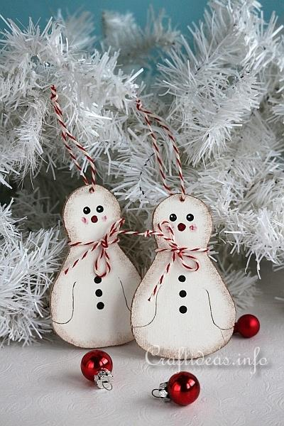 Christmas Wood Craft - Snowman Tree Ornaments