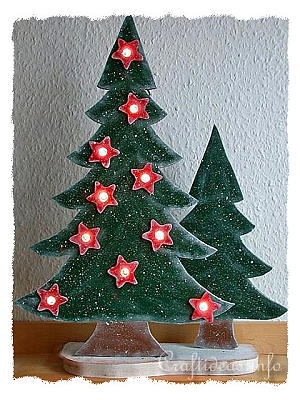 Christmas Wood Craft   Wooden Lighted Christmas Trees