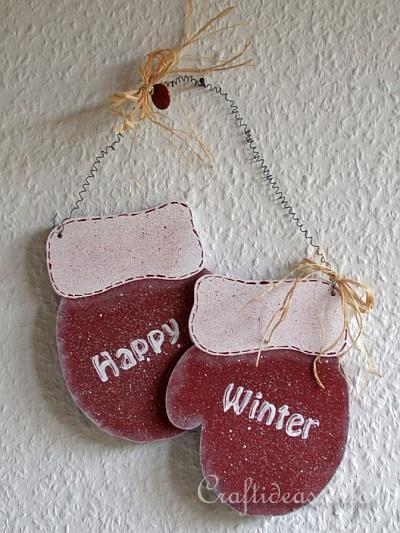 Christmas Wood Craft - Wooden Mittens Door Decoration - Happy Winter 2
