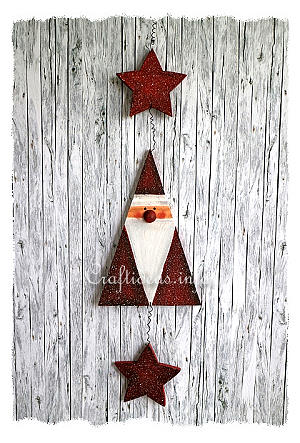 Christmas Wood Craft - Wooden Santa Claus Garland with Star