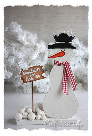 Christmas Wood Craft - Wooden Snowman - Snowballs for Sale