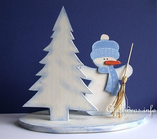 Christmas Wood Craft - Wooden Snowman Centerpiece 2
