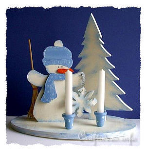 Christmas Wood Craft - Wooden Snowman Centerpiece with Candle Holders