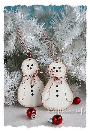 Christmas Wood Craft - Wooden Snowman Christmas Tree Ornament