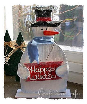 Christmas Wood Craft - Wooden Snowman Shelf Decoration - Happy Winter