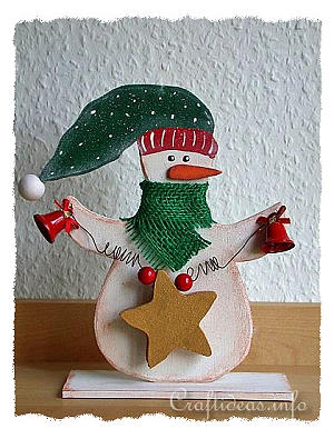 Christmas Wood Craft - Wooden Snowman with Star Shelf Decoration