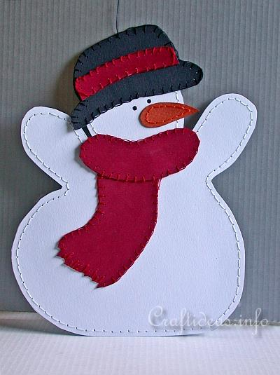Christmas and Winter Paper Craft - Stitched Paper Snowman