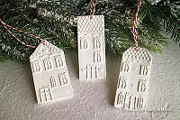 Clay Houses Christmas Tree Ornamemts