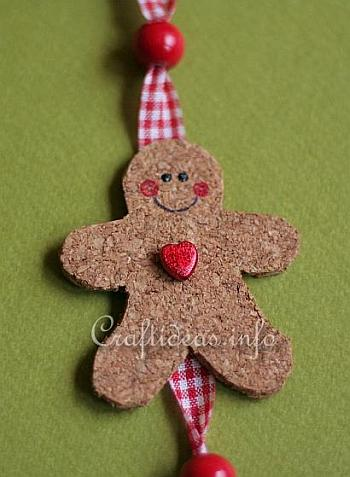 Cork Gingerbread Man and Star Hanging Decoration 3