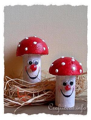 Fall Craft For Kids Recycling Craft Cork Mushrooms