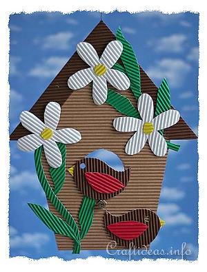 Paper Craft For Kids Corrugated Cardboard Birdhouse