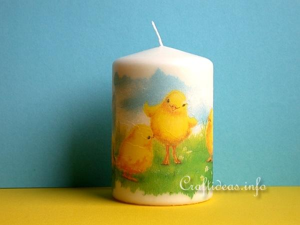 Craft Idea for Easter - Decoupage Candle with Easter Chick Motif