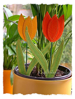 Craft Ideas for Spring - Felt Tulips Plant Pokes