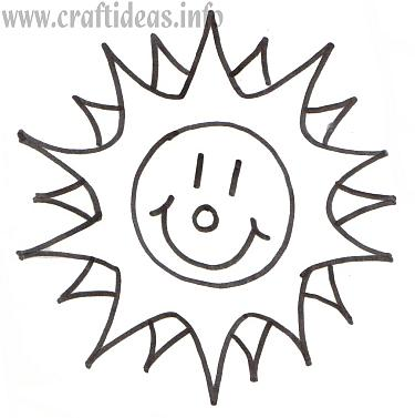 Free Craft Pattern or Coloring Book Page for a Sunshine