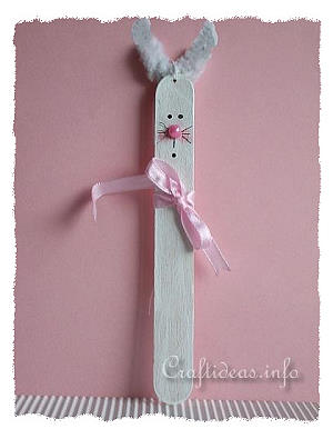 Craft Stick White Easter Bunny