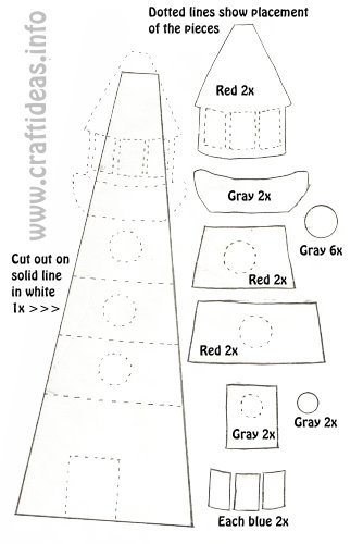 Free Craft Template for a Lighthouse
