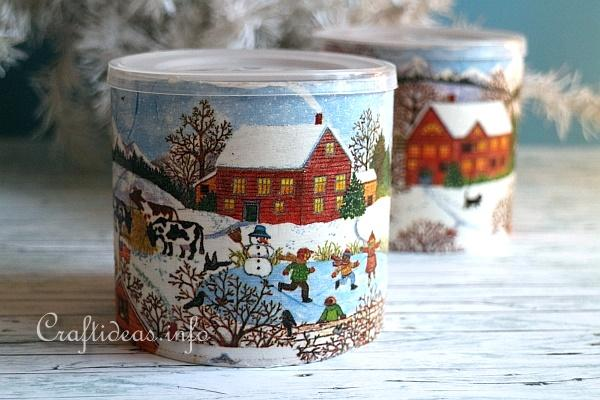 Decoupage Can with Winter Scene