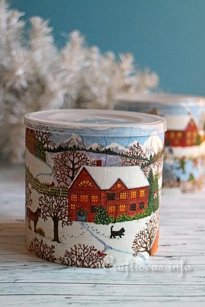 Decoupage Can with Winter Scene 2