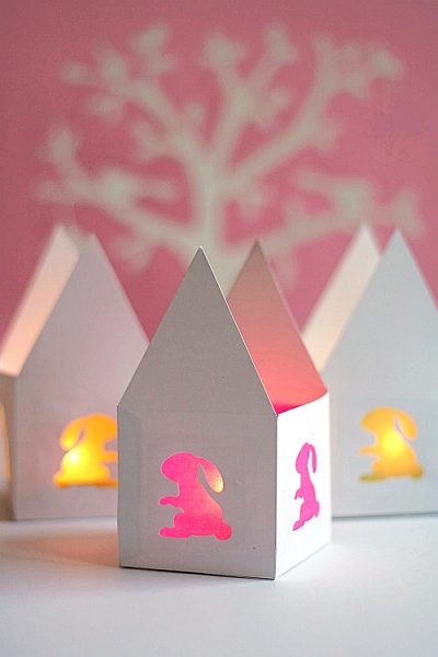Easter Bunny Paper Tea Light House 3