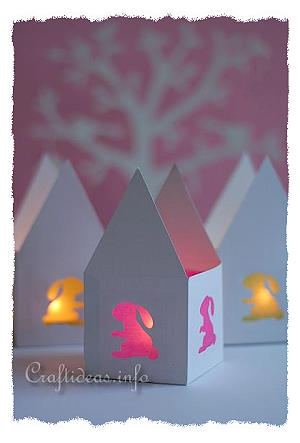 Easter Bunny Paper Tea Light House