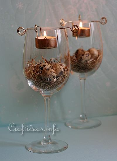 Decoration idea for easter easter tea light centerpiece for Centerpieces made with wine glasses