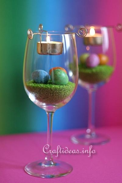 Easter Centerpiece - Wine Glasses with Tea Lights 2