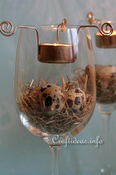 Easter Centerpiece - Wine Glasses with Tea Lights 4