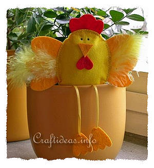 Easter Craft - Felt Craft - Felt Hen Flower Pot Sitter