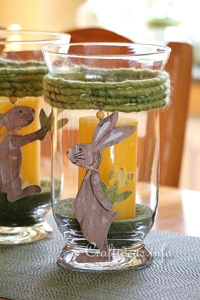 Easter Glass Candle Holder With Bunny Motifs 2