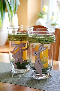 Easter Glass Candle Holder With Bunny Motifs