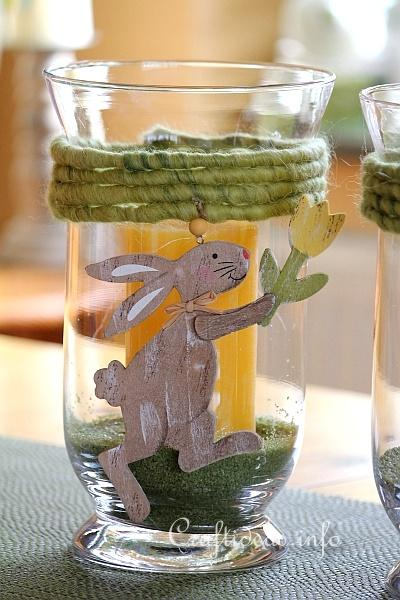 Easter Glass Candle Holder With Bunny Motifs 3