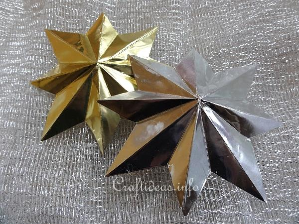 Christmas Crafts Eight Pointed Metallic 3 D Christmas Star