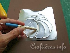 Embossed Metal Pumpkin Plant Poke 9