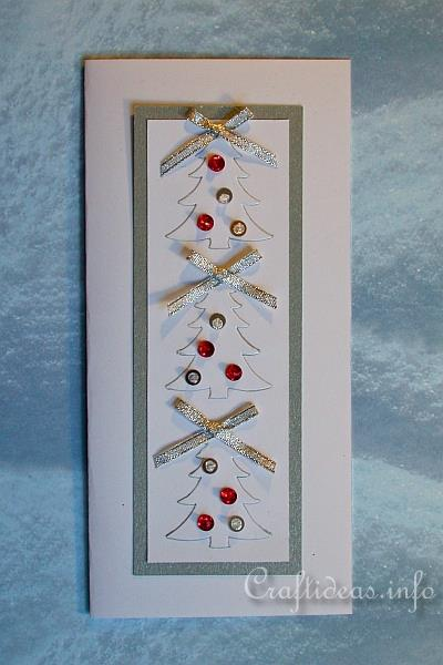 Embossed White Trees Christmas Card