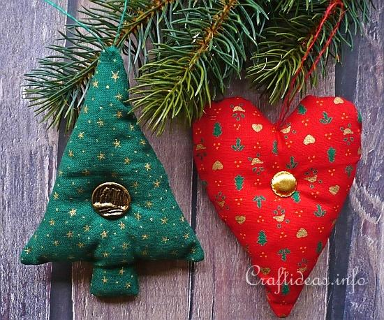 Fabric Christmas Tree Ornaments - Tree and Heart