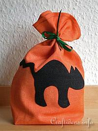 Fabric Craft - Sewing Craft for Halloween - Black Cat Goodie Bag